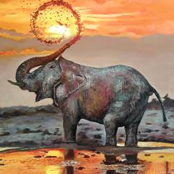 moment of joy, 18 x 26 inch, mrinalini pandey,wildlife paintings,figurative paintings,elephant paintings,paintings for dining room,paintings for living room,paintings for bedroom,paintings for office,paintings for bathroom,paintings for kids room,paintings for hotel,paintings for kitchen,paintings for school,paintings for hospital,paintings for dining room,paintings for living room,paintings for bedroom,paintings for office,paintings for bathroom,paintings for kids room,paintings for hotel,paintings for kitchen,paintings for school,paintings for hospital,canvas,acrylic color,18x26inch,GAL0493017157,elephant,joy,moment of joy,sunset
