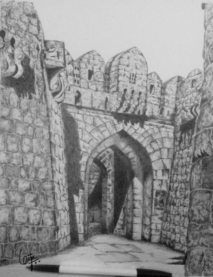 gateway, 11 x 14 inch, biju puthiyapurail,paintings for living room,illustration drawings,drawings,fine art drawings,paintings for office,paintings for hotel,paintings for school,ivory sheet,ball point pen,11x14inch,GAL04741716