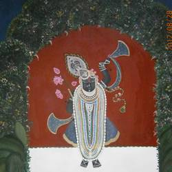 shreenathji , 34 x 40 inch, purvii parekh,paintings,religious paintings,kalighat painting,paintings for living room,paintings for hotel,canvas,oil,34x40inch,GAL0340017166