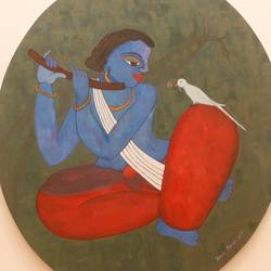 krishna_, 30 x 24 inch, purvii parekh,contemporary paintings,paintings for living room,paintings for office,paintings for hotel,radha krishna paintings,canvas,acrylic color,30x24inch,GAL0340017168,krishna,love,pece,lordkrishna,,lord,peace,flute,music,krishna,devotion,couple