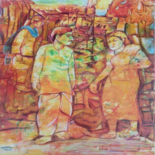 untatled, 22 x 28 inch, v veeraiah,modern art paintings,paintings for dining room,ivory sheet,oil paint,22x28inch,GAL06701717