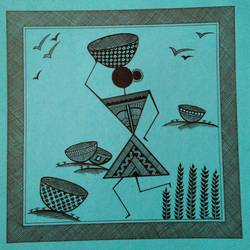 lady 2 _ set1 , 7 x 7 inch, anushree  jain,paintings,warli paintings,miniature painting.,paintings for dining room,paintings for living room,paintings for hotel,paintings for kitchen,thick paper,pen color,7x7inch,GAL0765717170