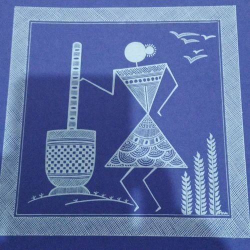 lady 3 _ set1 , 7 x 7 inch, anushree  jain,paintings,warli paintings,miniature painting.,paintings for dining room,paintings for living room,paintings for hotel,paintings for kitchen,thick paper,pen color,7x7inch,GAL0765717171