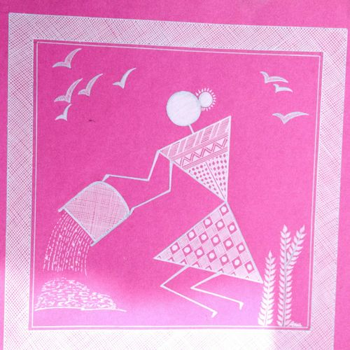lady 4 _ set1 , 7 x 7 inch, anushree  jain,paintings,warli paintings,miniature painting.,paintings for dining room,paintings for living room,paintings for hotel,paintings for kitchen,thick paper,pen color,7x7inch,GAL0765717172