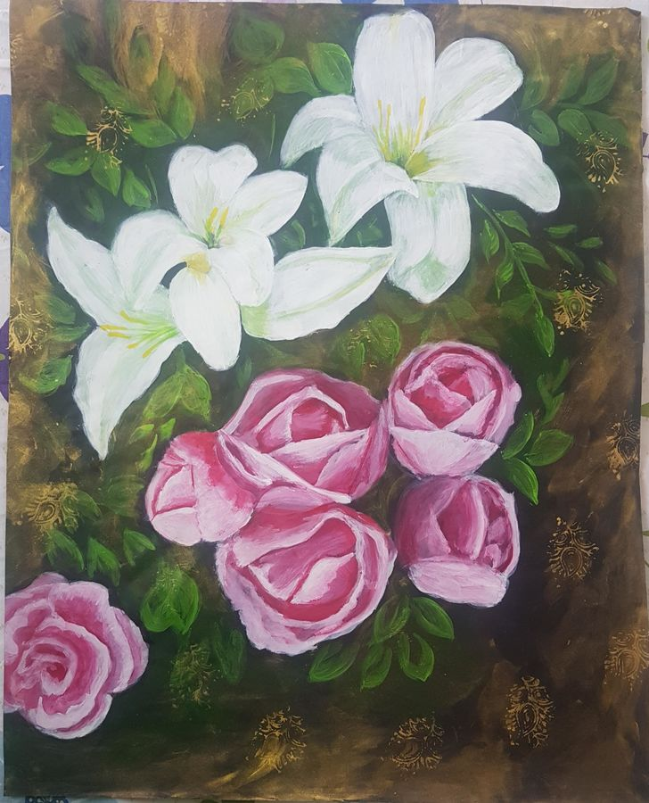 flowers, 19 x 24 inch, masoom sanghi,flower paintings,nature paintings,paintings for dining room,paintings for living room,paintings for bedroom,paintings for office,paintings for hotel,paintings for school,paintings for hospital,paper,acrylic color,19x24inch,GAL057217175Nature,environment,Beauty,scenery,greenery