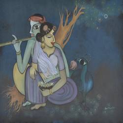 divine couple_4 4, 40 x 30 inch, purvii parekh,contemporary paintings,paintings for living room,paintings for hotel,paintings for living room,paintings for hotel,radha krishna paintings,canvas,acrylic color,40x30inch,GAL0340017177,krishna,lord,love,radha,radhakrishna,lordradha,lordkrishna,flute,music,