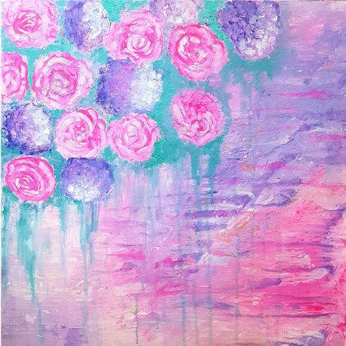 pink roses abstract, 24 x 24 inch, masoom sanghi,paintings,abstract paintings,paintings for dining room,paintings for living room,paintings for bedroom,paintings for office,paintings for kids room,paintings for hotel,paintings for school,paintings for hospital,canvas,acrylic color,24x24inch,GAL057217187