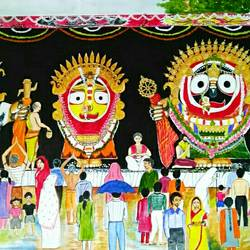 golden attire of lord jagannath , 54 x 30 inch, ranjita panda,paintings,warli paintings,documentary drawings,paintings for dining room,paintings for living room,paintings for bedroom,paintings for kids room,paintings for hotel,paintings for school,paintings for hospital,canvas,acrylic color,54x30inch,GAL0583917191