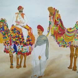 pushkar camel fair , 11 x 11 inch, shravani  somayajula ,paintings,animal paintings,paintings for living room,paintings for bedroom,paintings for office,paintings for kids room,paintings for hotel,paintings for school,ivory sheet,oil,watercolor,11x11inch,GAL0606917194