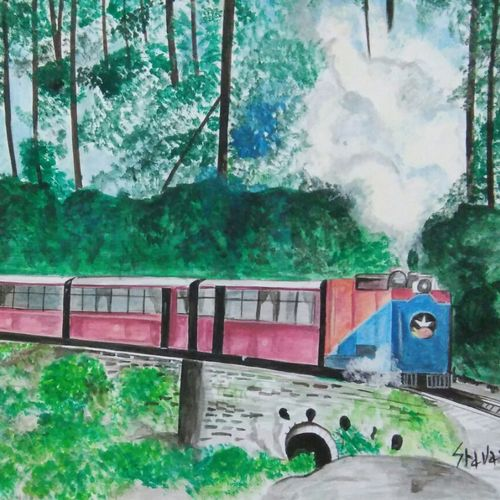 the train , 11 x 8 inch, shravani  somayajula ,paintings,nature paintings,paintings for living room,paintings for bedroom,paintings for office,paintings for kids room,paintings for hotel,paintings for school,paintings for hospital,ivory sheet,watercolor,11x8inch,GAL0606917196Nature,environment,Beauty,scenery,greenery,trees,beautiful,leaves,flowers,train,journey
