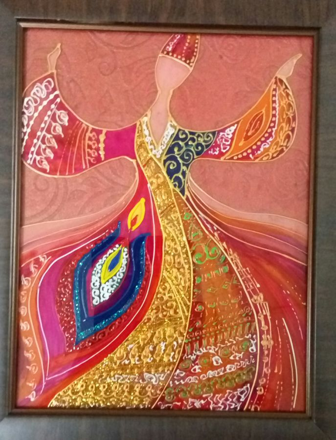 dancing dervish, 8 x 10 inch, deepti agrawal,modern art paintings,religious paintings,islamic calligraphy paintings,paintings for kids room,paintings for hotel,paintings for school,paintings for hospital,acrylic glass,mixed media,8x10inch,GAL0596817199