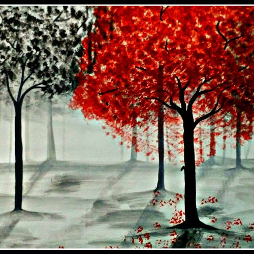 forest, 28 x 16 inch, huma sadiya,nature paintings,paintings for bedroom,thick paper,watercolor,28x16inch,GAL05631720Nature,environment,Beauty,scenery,greenery,trees,beautiful,leaves