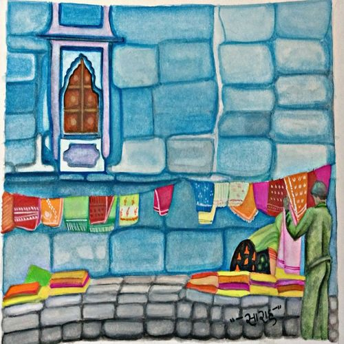 glimpse of blue city, 6 x 7 inch, sarah siddiqui,paintings,abstract paintings,cityscape paintings,modern art paintings,paintings for dining room,paintings for living room,paintings for bedroom,paintings for office,paintings for hotel,paintings for dining room,paintings for living room,paintings for bedroom,paintings for office,paintings for hotel,ivory sheet,mixed media,6x7inch,GAL0789617201