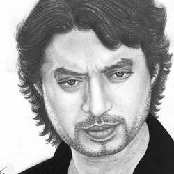 irrfan khan sketch, 7 x 9 inch, sarah siddiqui,drawings,portrait drawings,realism drawings,paintings for dining room,paintings for living room,paintings for bedroom,paintings for office,thick paper,graphite pencil,7x9inch,GAL0789617203
