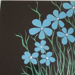 blue flowers, 12 x 12 inch, maya h,flower paintings,paintings for dining room,paintings for living room,paintings for office,paintings for dining room,paintings for living room,paintings for office,thick paper,watercolor,12x12inch,GAL0729717209