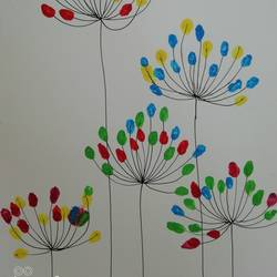 dotted flowers, 8 x 12 inch, maya h,paintings,flower paintings,nature paintings,paintings for dining room,paintings for office,paintings for dining room,paintings for office,thick paper,watercolor,ball point pen,8x12inch,GAL0729717211Nature,environment,Beauty,scenery,greenery