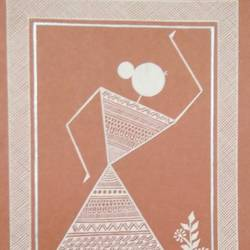 dancing lady , 6 x 8 inch, anushree  jain,paintings,warli paintings,miniature painting.,paintings for dining room,paintings for living room,paintings for bedroom,paintings for office,paintings for kids room,paintings for hotel,paintings for school,thick paper,pen color,6x8inch,GAL0765717217