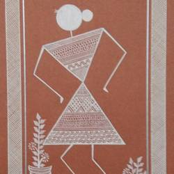 lady warli paintings, 6 x 8 inch, anushree  jain,warli paintings,miniature painting.,paintings for dining room,paintings for living room,paintings for bedroom,paintings for office,paintings for kids room,paintings for hotel,paintings for kitchen,paintings for school,thick paper,pen color,6x8inch,GAL0765717218