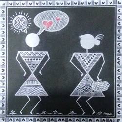 love story _ when a boy see a girl_1, 6 x 6 inch, anushree  jain,paintings,love paintings,warli paintings,miniature painting.,paintings for dining room,paintings for living room,paintings for bedroom,paintings for hotel,thick paper,pen color,6x6inch,GAL0765717219heart,family,caring,happiness,forever,happy,trust,passion,romance,sweet,kiss,love,hugs,warm,fun,kisses,joy,friendship,marriage,chocolate,husband,wife,forever,caring,couple,sweetheart