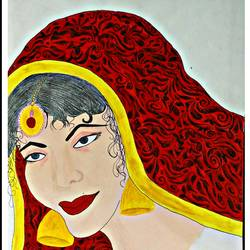 rajasthani beauty, 28 x 16 inch, huma sadiya,modern art paintings,paintings for bedroom,thick paper,watercolor,28x16inch,GAL05631722