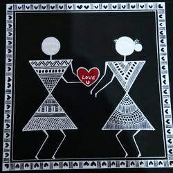 warli paintings love story _ boy gives his heart to girl_4, 6 x 6 inch, anushree  jain,love paintings,warli paintings,miniature painting.,paintings for dining room,paintings for living room,paintings for bedroom,paintings for office,paintings for hotel,thick paper,pen color,6x6inch,GAL0765717223heart,family,caring,happiness,forever,happy,trust,passion,romance,sweet,kiss,love,hugs,warm,fun,kisses,joy,friendship,marriage,chocolate,husband,wife,forever,caring,couple,sweetheart