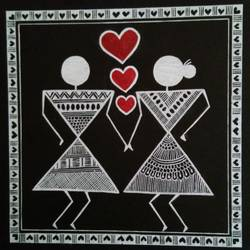 warli painting love story _ they are together _5, 6 x 6 inch, anushree  jain,love paintings,warli paintings,miniature painting.,paintings for dining room,paintings for living room,paintings for bedroom,paintings for office,paintings for hotel,thick paper,pen color,6x6inch,GAL0765717224heart,family,caring,happiness,forever,happy,trust,passion,romance,sweet,kiss,love,hugs,warm,fun,kisses,joy,friendship,marriage,chocolate,husband,wife,forever,caring,couple,sweetheart