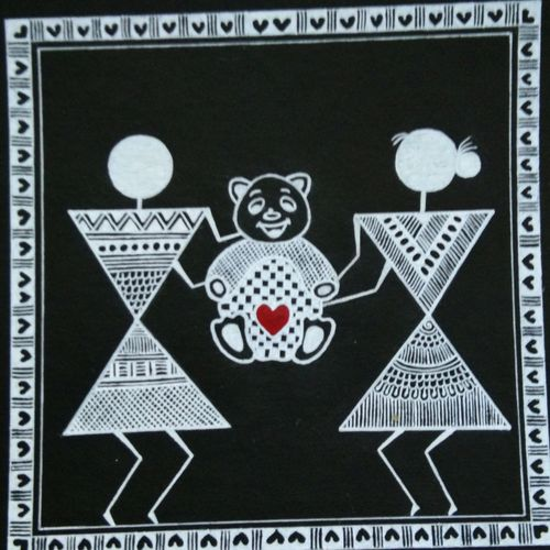 love story _ gift teddy_6, 6 x 6 inch, anushree  jain,paintings,love paintings,warli paintings,miniature painting.,paintings for dining room,paintings for living room,paintings for bedroom,paintings for office,paintings for hotel,thick paper,pen color,6x6inch,GAL0765717225heart,family,caring,happiness,forever,happy,trust,passion,romance,sweet,kiss,love,hugs,warm,fun,kisses,joy,friendship,marriage,chocolate,husband,wife,forever,caring,couple,sweetheart