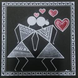 warli painting love story _kissing_8, 6 x 6 inch, anushree  jain,love paintings,warli paintings,miniature painting.,paintings for dining room,paintings for living room,paintings for bedroom,paintings for office,paintings for hotel,thick paper,pen color,6x6inch,GAL0765717226heart,family,caring,happiness,forever,happy,trust,passion,romance,sweet,kiss,love,hugs,warm,fun,kisses,joy,friendship,marriage,chocolate,husband,wife,forever,caring,couple,sweetheart
