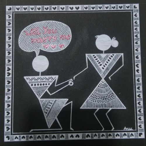 warli painting love story, proposal for marriage 9, 6 x 6 inch, anushree  jain,love paintings,warli paintings,miniature painting.,paintings for dining room,paintings for living room,paintings for bedroom,paintings for office,paintings for hotel,thick paper,pen color,6x6inch,GAL0765717227heart,family,caring,happiness,forever,happy,trust,passion,romance,sweet,kiss,love,hugs,warm,fun,kisses,joy,friendship,marriage,chocolate,husband,wife,forever,caring,couple,sweetheart