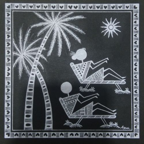 warli painting love story honeymoon, 6 x 6 inch, anushree  jain,love paintings,warli paintings,miniature painting.,paintings for dining room,paintings for living room,paintings for bedroom,paintings for office,paintings for hotel,paintings for dining room,paintings for living room,paintings for bedroom,paintings for office,paintings for hotel,thick paper,pen color,6x6inch,GAL0765717228heart,family,caring,happiness,forever,happy,trust,passion,romance,sweet,kiss,love,hugs,warm,fun,kisses,joy,friendship,marriage,chocolate,husband,wife,forever,caring,couple,sweetheart