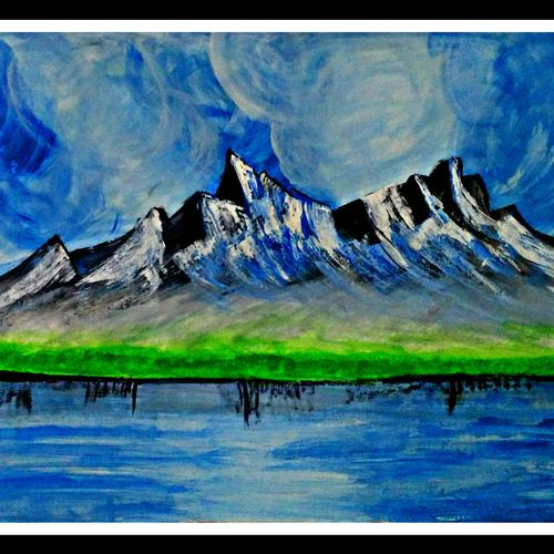 mountain view, 28 x 16 inch, huma sadiya,nature paintings,paintings for living room,thick paper,watercolor,28x16inch,GAL05631723Nature,environment,Beauty,scenery,greenery