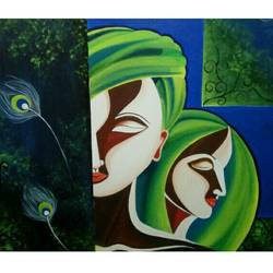 radha krishna folk art, 36 x 30 inch, shubhi  dixit,folk art paintings,radha krishna paintings,paintings for living room,paintings for bedroom,paintings for office,paintings for hotel,canvas,acrylic color,36x30inch,GAL0791617232,radhakrishna,love,pece,lordkrishna,,lordradha,peace,radha,krishna,devotion,couple