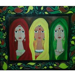 tribal beauty, 36 x 30 inch, shubhi  dixit,paintings,folk art paintings,paintings for dining room,paintings for living room,paintings for bedroom,paintings for hotel,canvas,acrylic color,36x30inch,GAL0791617233