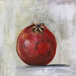 pomegranate ! still life !! fruit painting , 6 x 6 inch, amita dand,paintings,still life paintings,paintings for dining room,paintings for hotel,paintings for kitchen,canvas,acrylic color,6x6inch,GAL0146717238