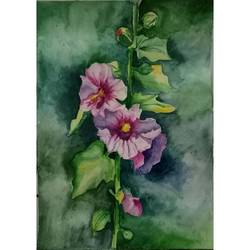 pink floral painting, 8 x 12 inch, payal singla,flower paintings,thick paper,watercolor,8x12inch,GAL0787917239