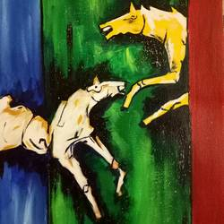 hourse painting, 9 x 12 inch, payal singla,paintings,horse paintings,canvas,acrylic color,9x12inch,GAL0787917241