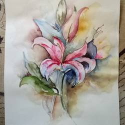 pink floral painting, 8 x 12 inch, payal singla,flower paintings,thick paper,watercolor,8x12inch,GAL0787917244