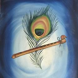 peacock feather with flute, 12 x 18 inch, ila  singh,paintings,religious paintings,paintings for living room,paintings for living room,canvas,oil,12x18inch,GAL0795917264