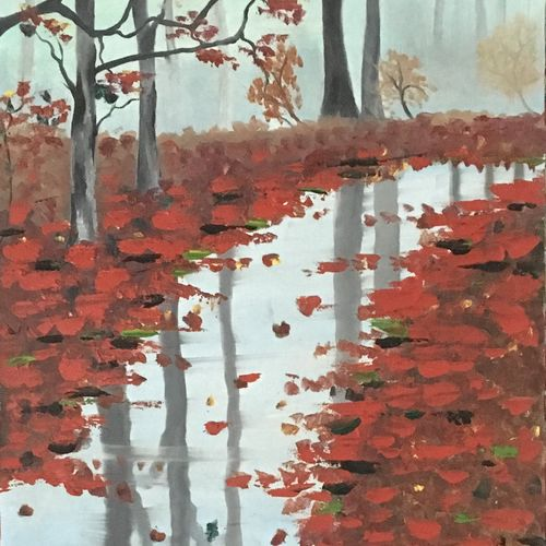 reflection in water, 14 x 34 inch, ila  singh,paintings,portrait paintings,nature paintings,paintings for living room,canvas,oil,14x34inch,GAL0795917266Nature,environment,Beauty,scenery,greenery