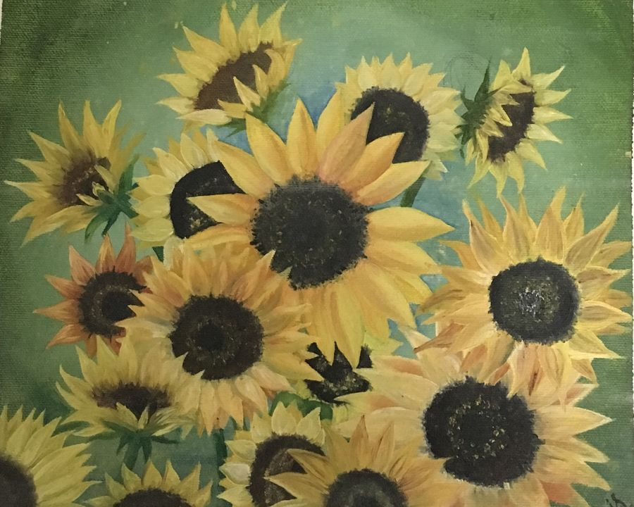 sunflower, 11 x 12 inch, ila  singh,paintings,flower paintings,paintings for living room,canvas,oil,11x12inch,GAL0795917269
