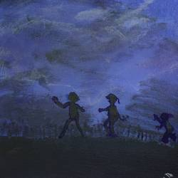 children in twilight night, 12 x 12 inch, saradha devi prabhakaran,kids paintings,paintings for living room,paintings for bedroom,paintings for kids room,paintings for school,paintings for hospital,paintings for living room,paintings for bedroom,paintings for kids room,paintings for school,paintings for hospital,canvas board,acrylic color,12x12inch,GAL0798817277