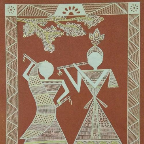 warli paintings radha krishna, 11 x 8 inch, anushree  jain,radha krishna paintings,warli paintings,miniature painting.,paintings for dining room,paintings for living room,paintings for office,paintings for kids room,paintings for kitchen,paintings for school,thick paper,pen color,11x8inch,GAL0765717292