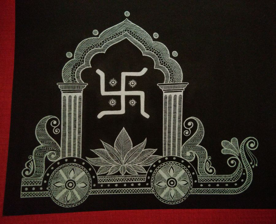 swastika ratha, 12 x 9 inch, anushree  jain,paintings,conceptual paintings,religious paintings,miniature painting.,paintings for dining room,paintings for living room,paintings for bedroom,paintings for office,paintings for kids room,paintings for hotel,paintings for kitchen,paintings for school,paintings for hospital,thick paper,pen color,12x9inch,GAL0765717303