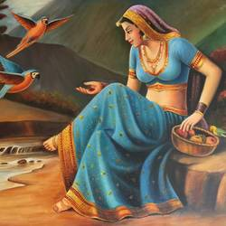 rajasthani woman with parrots, 36 x 24 inch, saurabh vyas,paintings,folk art paintings,nature paintings,paintings for dining room,paintings for living room,paintings for bedroom,paintings for office,paintings for hotel,paintings for dining room,paintings for living room,paintings for bedroom,paintings for office,paintings for hotel,canvas,oil,36x24inch,GAL0800817308Nature,environment,Beauty,scenery,greenery