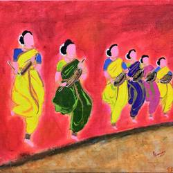 indian traditional folk dance- thappattam, 18 x 14 inch, yamuna devi,paintings,abstract paintings,figurative paintings,folk art paintings,landscape paintings,art deco paintings,illustration paintings,contemporary paintings,realistic paintings,paintings for dining room,paintings for living room,paintings for office,paintings for hotel,paintings for school,paintings for hospital,canvas board,acrylic color,18x14inch,GAL0713317317