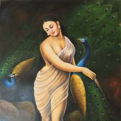 peacock and saree woman, 24 x 36 inch, saurabh vyas,paintings,folk art paintings,portrait paintings,realism paintings,animal paintings,paintings for living room,paintings for hotel,canvas,oil,24x36inch,GAL0800817318