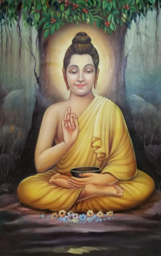lord buddha, 23 x 34 inch, saurabh vyas,paintings,buddha paintings,religious paintings,paintings for dining room,paintings for living room,paintings for office,paintings for hotel,paintings for school,paintings for hospital,canvas,oil,23x34inch,peace,meditation,meditating,blessing,tree,buddha,gautam,goutam,religious,GAL0800817319,trees,lordbuddha,inner,lordface,lotus,gautaum