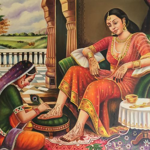 women doing mehendi, 36 x 24 inch, saurabh vyas,paintings,folk art paintings,conceptual paintings,portrait paintings,paintings for living room,paintings for bedroom,paintings for hotel,paintings for living room,paintings for bedroom,paintings for hotel,canvas,oil,36x24inch,GAL0800817322