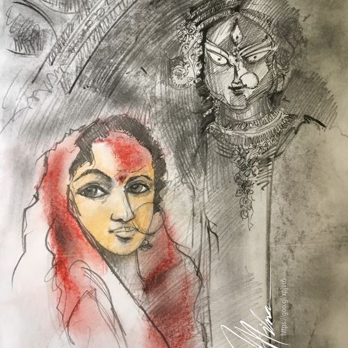 durga series 1, 16 x 11 inch, joydeep mitra,drawings,expressionist drawings,fine art drawings,modern drawings,paintings for living room,paintings for office,fabriano sheet,charcoal,ink color,pastel color,pencil color,16x11inch,GAL0768317325