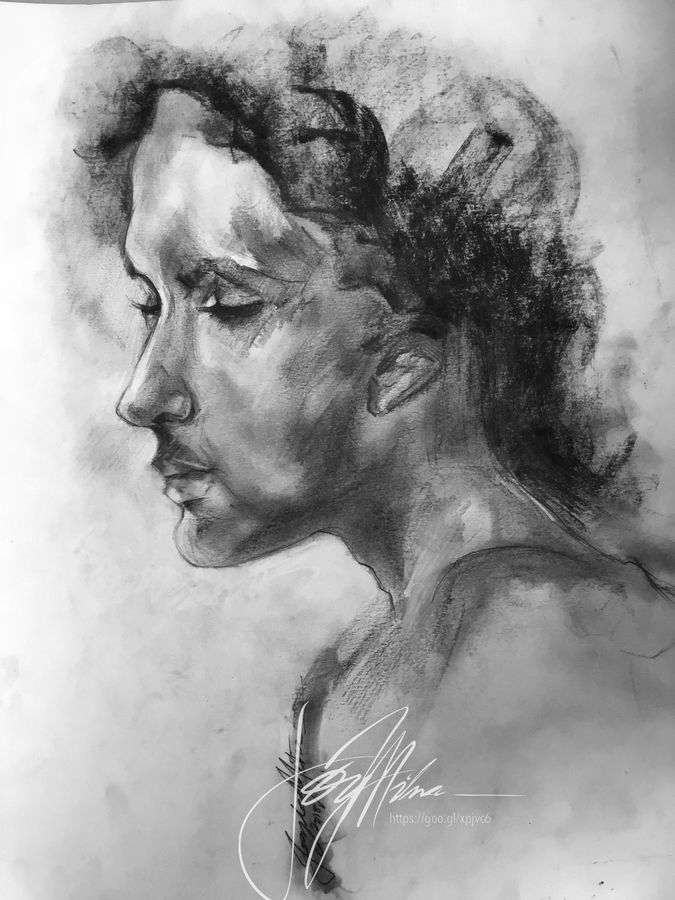 woman's portrait in charcoal..., 16 x 11 inch, joydeep mitra,drawings,expressionist drawings,fine art drawings,impressionist drawings,pop art drawings,paintings for living room,paintings for office,fabriano sheet,charcoal,ink color,photo ink,graphite pencil,16x11inch,GAL0768317326
